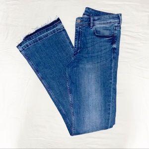 H&M Dark Wash Blue Flare Raw Hem Jeans 6P